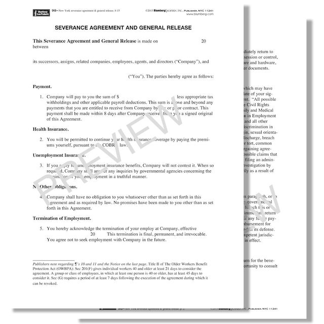 Connecticut Severance Agreement And General Release Form