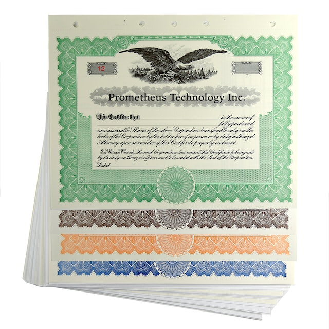 blank legal size corporation stock certificates